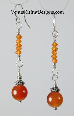 Carnelian Globes Earrings