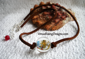 Glass Dragon & Leather Necklace