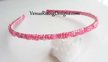 Hot Pink Beaded Headband