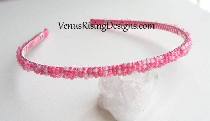 Hot Pink Beaded Headband