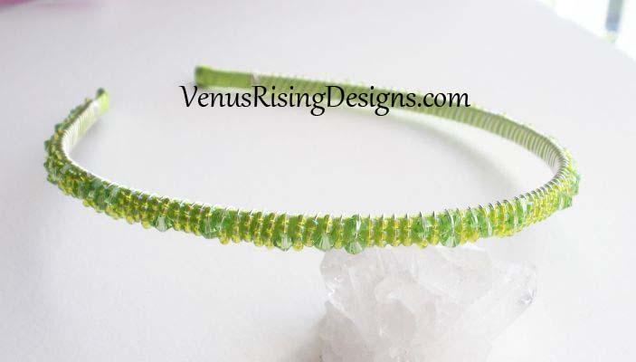 Lime Green Beaded Headband