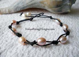 Pink & White Pearls with Black Leather Bracelet