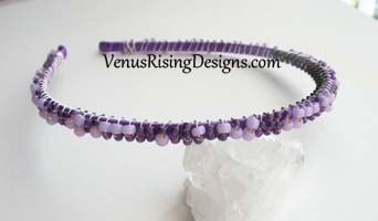 Purple and Lavender Beaded Headband