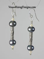 Steel Blue Pearls Earrings