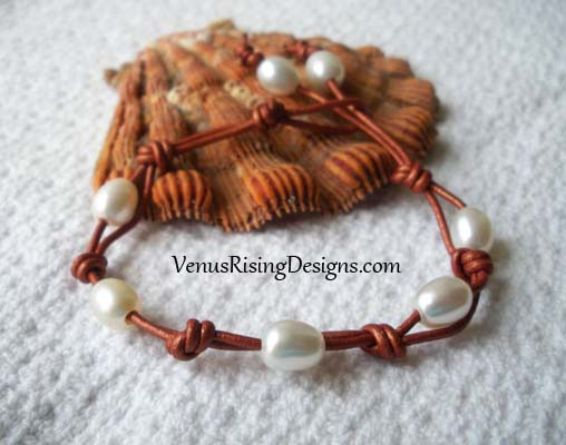 White Pearls & Coppery Leather Cord Bracelet