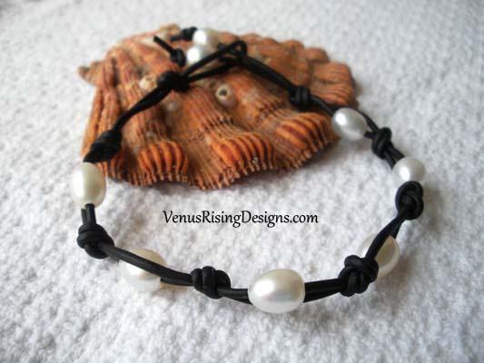 White Pearls & Black Leather Cord Bracelet